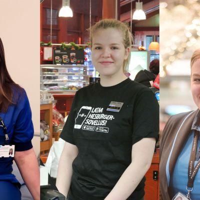 Tre kvinnor på rad.