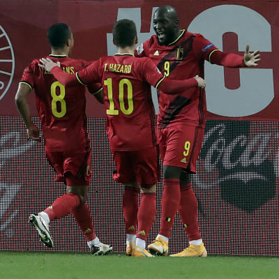 Romelu Lukaku gjorde två mål mot Danmark.