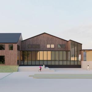 En ritning över ett hus i trä med stora fönster.