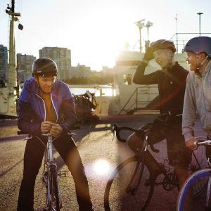 Kolme miestä seisoo satamassa polkupyöriensä kanssa, aurinko paistaa