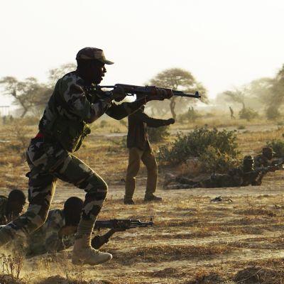 Sotilas rynnäkkökiväärin varressa savannilla
