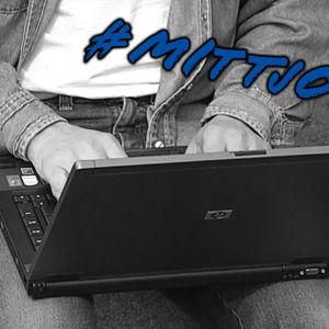Arbete på laptop med #MittJobb-stämpel.