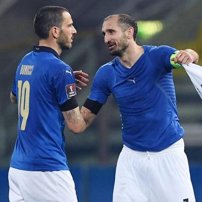 Leonardo Bonucci och Giorgio Chiellini i landslaget.