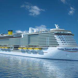 Havainne kuva Turun telakalla rakennettavasta Costa Smeralda -risteilyaluksesta.