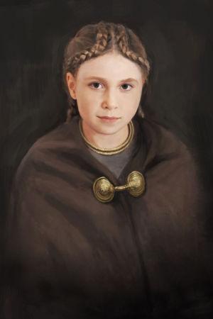 Målning föreställande flicka från bronsåldern, av Tom Björklund