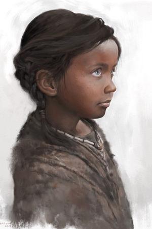 Målning föreställande flicka, av Tom Björklund