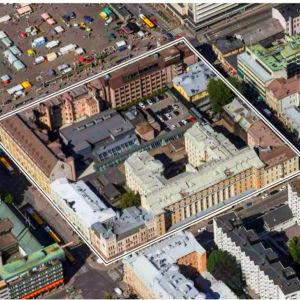 Forumkvarteret i Åbo sett uppifrån.