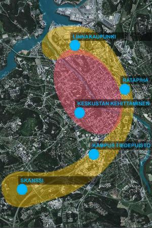 Karta över de områden som byggs ut i Åbo; centrum med röd färg, Slottsstaden, bangården, vetenskapsparken och Skansen med gul färg.