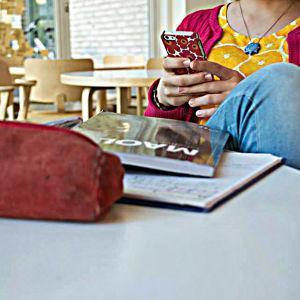 telefon, penal, MAOL:s tabell och hand tillhörande tonårsflicka.