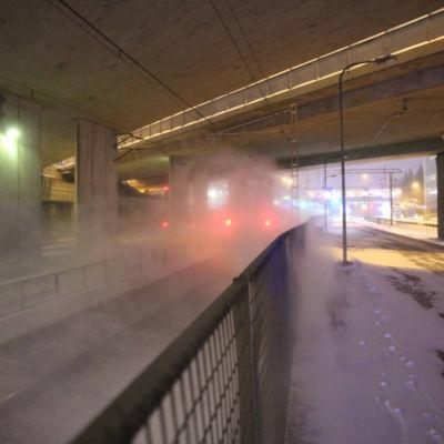 Ett närtåg kör förbi en station i Helsingfors.
