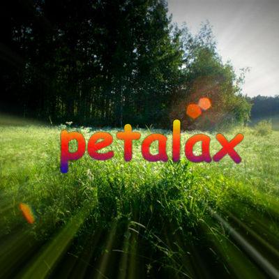 """En bild på en åker med texten """"petalax"""" i regnbågsfärger"""
