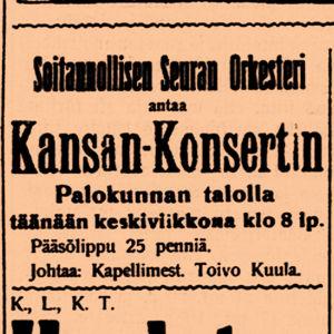 Konsertti-ilmoitus Kaleva-lehdessä vuonna 1910.