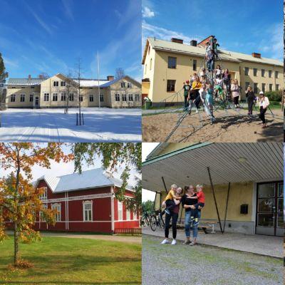 Ett bildkollage föreställande foton av skolbyggnaderna i Rödsö, Småbönders, Djupsöbacka, Komossa, Dagsmark och Tjöck.
