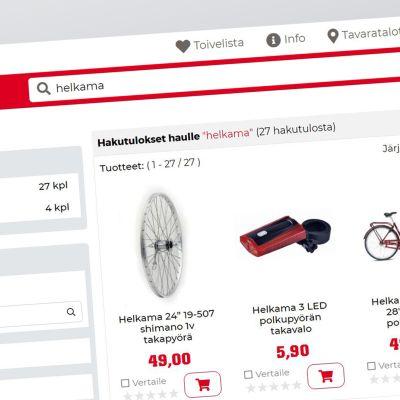 Kuvakaappaus Kärkkäisen nettisivuilta, jossa näkyy myynnissä olevia Helkaman tuotteita