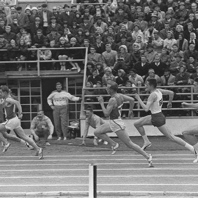 Miesten 400 metrin Ruotsi-ottelujuoksu Olympiastadionilla 1960-luvulla