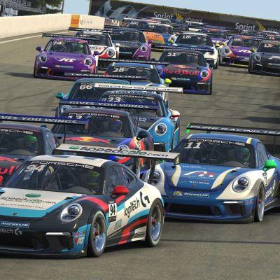 Porsche Esports Supercup -autoja radalla.