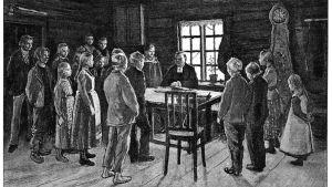 Köyhä, mutta kuuliainen kansa, joka haluaa sivistää itseään. Suomi 1800 -luvulla kirjan kuvitusta.