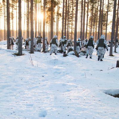 Varushenkilöitä kävelemässä lumisessa metsässä.