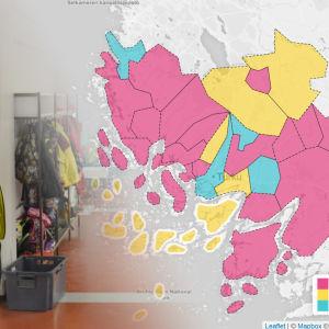 Skolkorridor och karta av Egentliga Finland