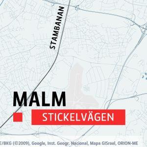 Karta över delar av Helsingfors, bland annat stadsdelen Malm