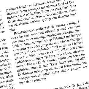 Riksdagsspörsmålstext om Café Satan år 2000,.