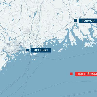 Kartta Kallbådagrundin sijainnista.