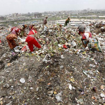Naiset keräsivät ja erottelivat roskia ja lumppuja kaatopaikalla Gazipurissa New Delhissä 15. kesäkuuta 2013.