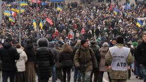 Marsch under årsdagen av dödsskjutningarna på Majdan.