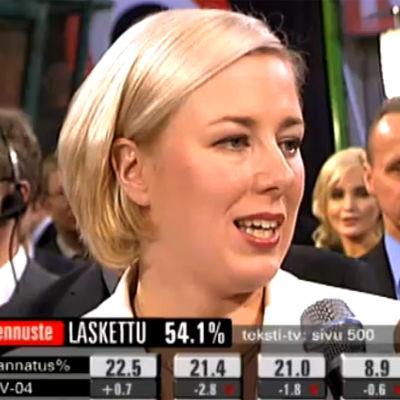 Jutta Urpilainen kommentoi vaalitulosta (2008).