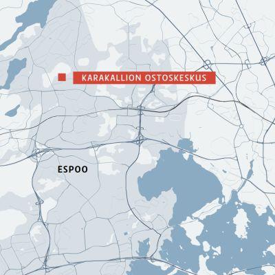 Karakallion ostoskeskus kartalla.