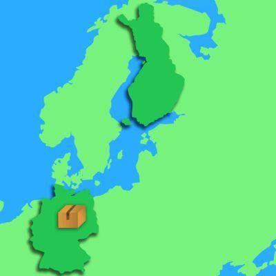 Karttagiffi paketti liikkuu Saksasta Suomeen