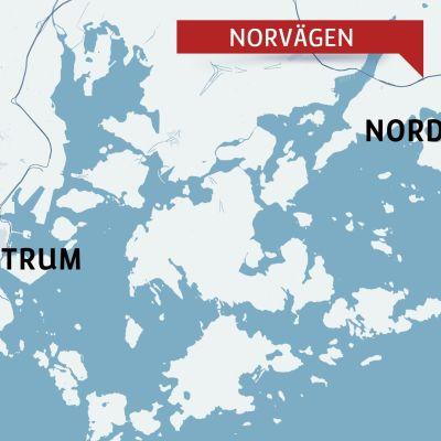 Karta över helsingfors med stadsdelen Nordsjö.