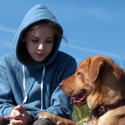 Lili (Zsófia Psotta) ja hänen koiransa Hagen elokuvassa Valkoinen jumala