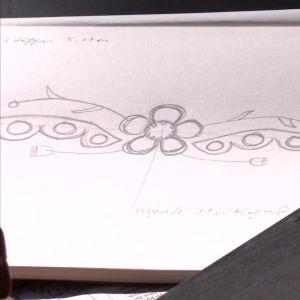 skiss i blyerts av logon till programmet Trädgården på Strömsö