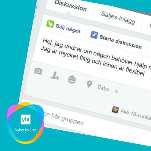 En skärmdump från Facebook där en ungdom erbjuder sig att klippa gräset.