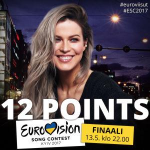 Jenni Vartiainen antaa Suomen pisteet Kiovan Euroviisuissa.