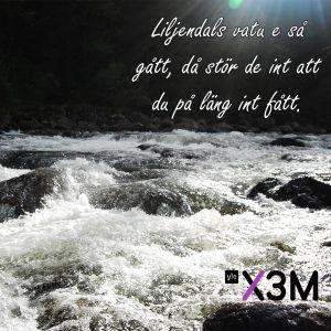 Bild på vatten där det står: Liljendals vatu e så gått, då stör de int att du på läng int fått.