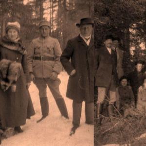 Suojeluskuntalaisia ja kartanon asukkaita metsässä.