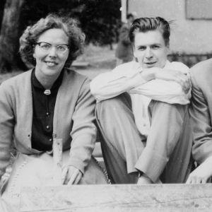Meri Louhos, Martti Vuorenjuuri, Seppo Heikinheimo ja Ilkka Kuusisto Darmstadtissa 1957.