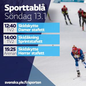 Sporttablå söndag 13.1.