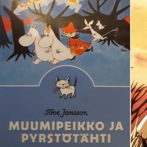 Kuvassa Muumipeikko ja pyrstötähti -teoksen kirjan kansi ja kohtaus samannimisestä leffasta.