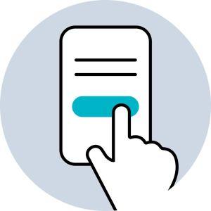 Piirroskuvassa sormi osoittaa tekstikentän alla olevaa nappulaa.
