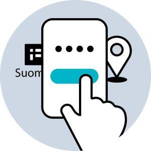Piirroskuvassa sormi soittaa mobiililaitteen näytöllä nappulaa. Laitteen takana näkyy Suomi.fi logo ja paikkakohdistin.