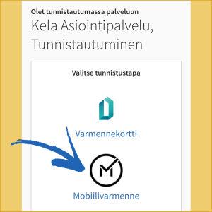 Kuvakaappaus kännykästä: Valitse suomi.fi-tunnistuksessa tunnistustapa (tässä mobiilivarmenne).