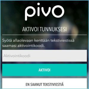 Kuvakaappaus Pivo-sovelluksesta: Tunnus aktivoidaan tekstiviestin koodilla.