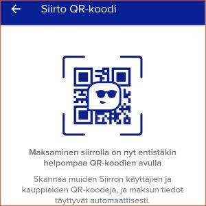 Kuvakaappaus Siirto-sovelluksesta: Vinkataan maksamisesta QR-koodin avulla.