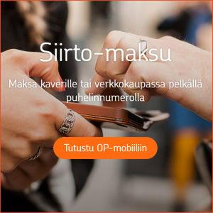 Kuvakaappaus OP:n sivuilta: OP-mobiilin sivulla kerrotaan Siirto-maksuista.