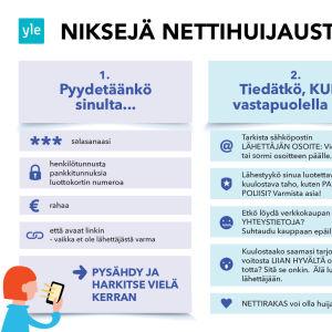 Grafiikkakuva, joka listaa niksejä nettihuijausten välttämiseen kolmen pääkysymyksen alle. Kuvan tekstit on avattu myös jutussa.