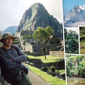 Toimittaja Jukka Kuosmanen Etelä-Amerikassa erilaisissa maisemissa: Machu piccu vuorella, lumihuippuisilla vuorilla, viidakossa ja aavikolla.