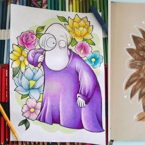 Hemuli ja toinen Muumilaakson hahmo puuväreillä piirrettyinä.